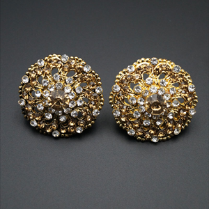 Tejas White/Gold Diamante Earrings - Gold