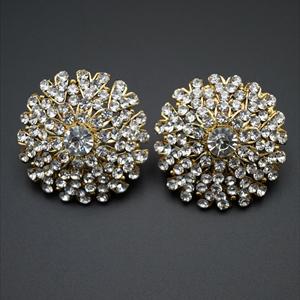 Eila White  Diamante Earrings - Gold
