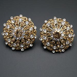 Ilhi White/Gold Diamante Earrings - Gold