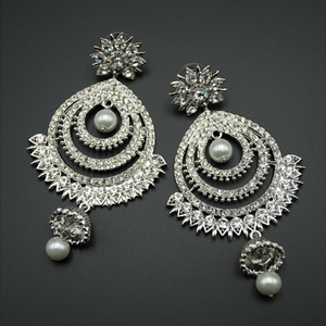 Chiru  White Diamante Earrings - Silver