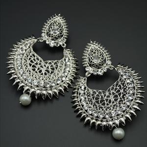 Parin White Diamante Earrings - Silver