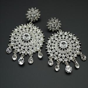 Raga White Diamante Earrings - Silver