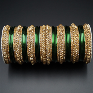 Jahanvi   Gold Diamante and Green Bangle Set - Gold