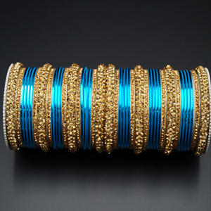 Jahanvi Gold Diamante and  Turquoise Bangle Set - Gold