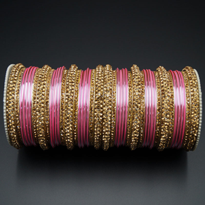 Jahanvi  Gold Diamante and Baby Pink Bangle Set - Gold