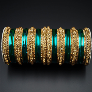 Jahanvi Gold Diamante and Peacock  Bangle Set - Gold