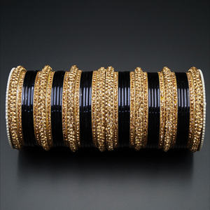 Jahanvi  Gold Diamante and Black Bangle Set - Gold