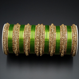 Jahanvi Gold Diamante and Light Green Bangle Set - Gold