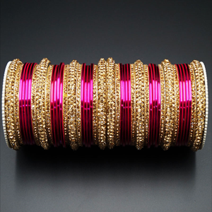 Jahanvi Gold Diamante and Dark Pink Bangle Set - Gold