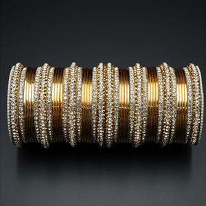 Jahanvi Gold/White Diamante and Gold Bangle Set - Gold