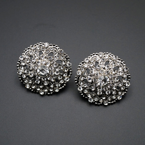 Eswar- White Diamante Earrings - Gold