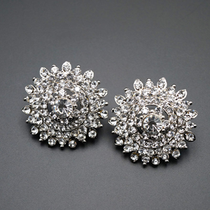 Hamir White Diamante Earrings - Silver