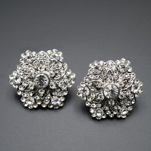 Harin White Diamante Earrings - Silver