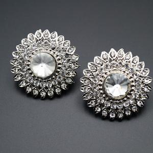 Aapti White Diamante Earrings - Silver