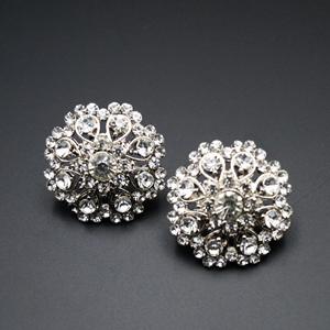 Chetal White Diamante Earrings - Silver