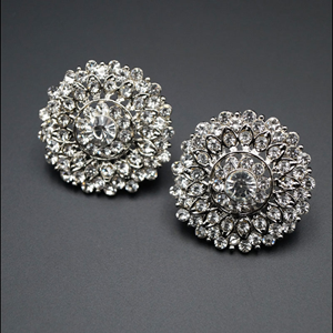 Dishi White Diamante Earrings - Silver