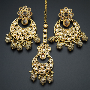 Saat-Gold Polki Stone Earring Tikka Set - Antique Gold