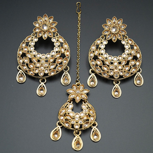 Jana- Gold (LCT) Polki Stone Earring Tikka Set - Antique Gold
