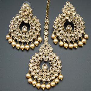 Furat - Gold Polki Stone and Pearl Earring Tikka Set -  Antique Gold