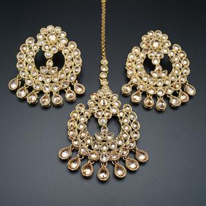 Hanja - Gold Polki Stone Earring Tikka Set - Antique Gold