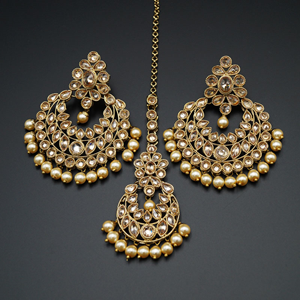 Sonam -Gold Polki Stone and Pearl Earring Tikka Set - Antique Gold