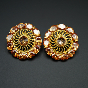 Aala- Gold (LCT) Polki Stone Earrings - Gold