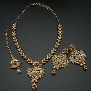 Rashil- Gold Diamante Necklace Set - Gold