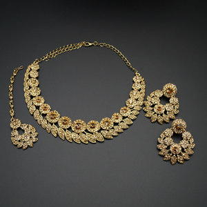 Rashi- Gold Diamante Necklace Set - Gold