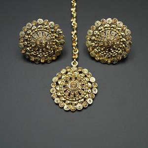 Sahae Gold Diamante Stone Earring Tikka Set - Gold