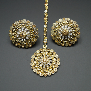 Sahae Gold /White Diamante Stone Earring Tikka Set - Gold