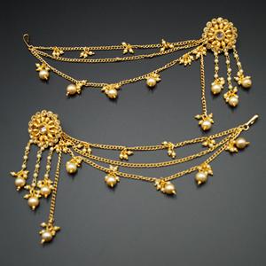 Bahubali Gold Polki Long Chain Earrings-Gold