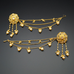 Bahubali Gold Polki Long Chain Earrings-Gold