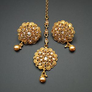 Mali Gold Polki Stone Earring Tikka Set -Gold