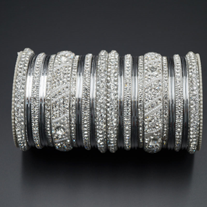 Jaheel White Stone Bangle Set - Silver