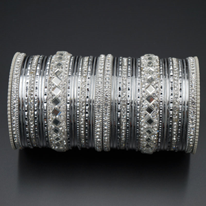 Misha White Stone Bangle Set - Silver
