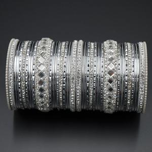 Misha White Stone Bangle Set - Silver