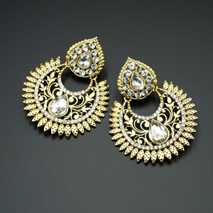 Tamas White Diamante Earrings- Gold