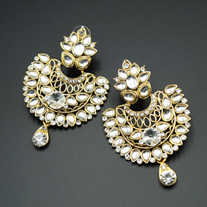 Urali White Kundan /Diamante Earrings- Gold