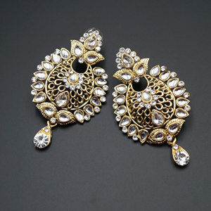 Tayla White Kundan/Diamante Earring Set - Gold