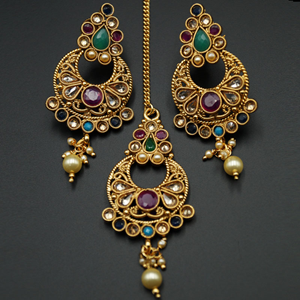 Upteej-Multi Colour Polki Stone Earring Tikka Set - Gold