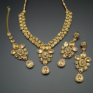 Huzim Gold Diamante Necklace Set - Gold