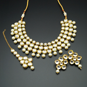 Falini White Kundan and Pearls Necklace Set - Gold