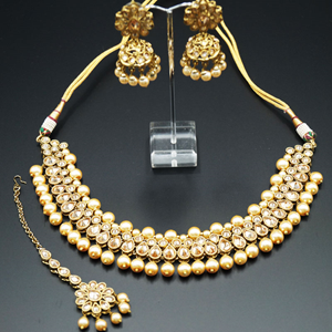 Mytri - Gold Polki Stone Necklace Set with Pearls- Antique Gold