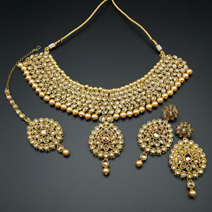 Jiaa - Gold Polki Stone Choker Necklace Set with Pearls- Antique Gold