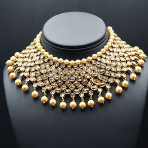Kesav- Gold Polki Stone Choker Necklace Set with Pearls- Antique Gold