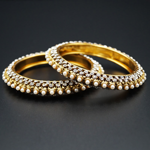 Meera White Diamante With Pearl's  Kharas - AntiqueGold