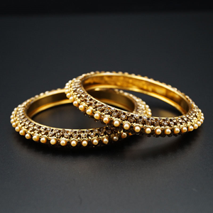 Meera Gold Diamante With Pearl's Kharas - AntiqueGold