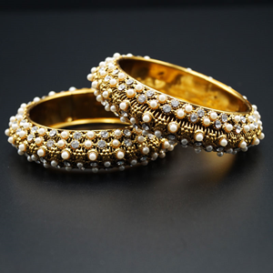 Surti White Diamante and Pearl Kharas - Antique Gold
