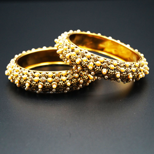 Surti Gold Diamante and Pearl Kharas - Antique Gold