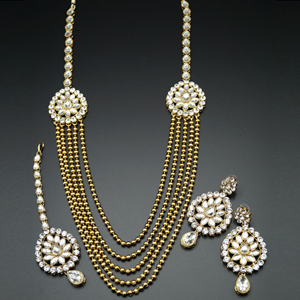 Aasa White Kundan and Diamante Rani Haar Set - AntiqueGold